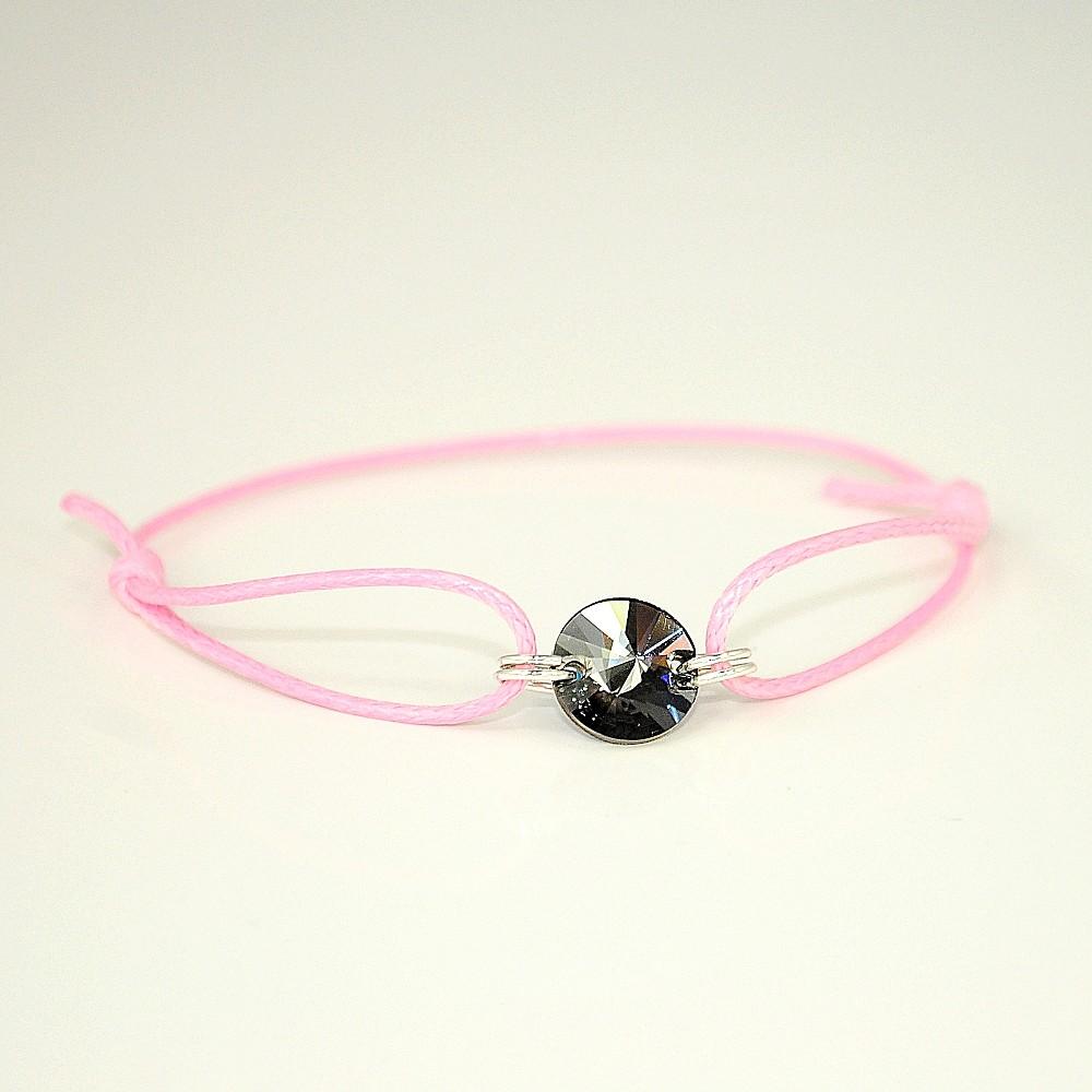 Różowa bransoletka z rivoli CSN