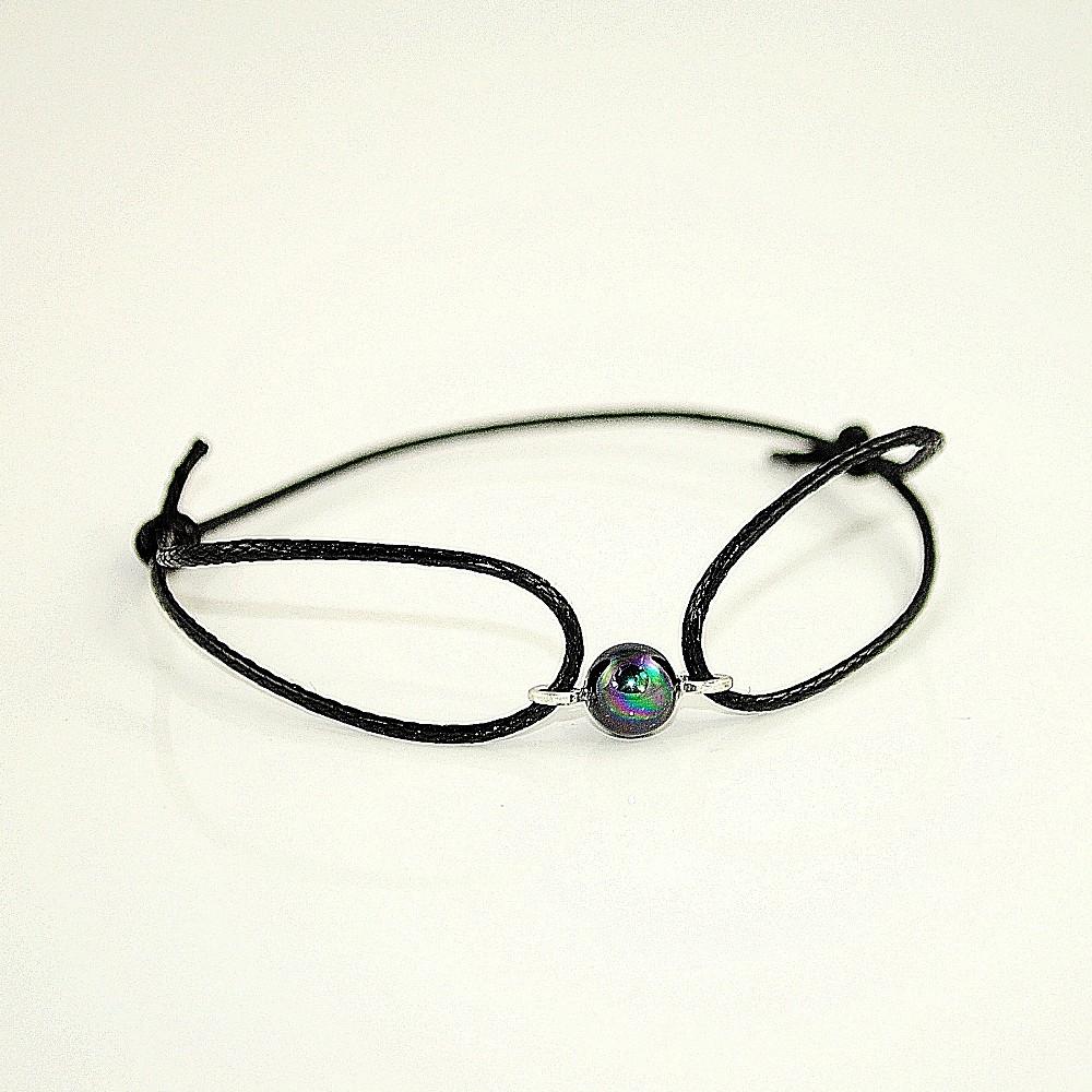 Czarna bransoletka z perłą G