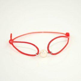 Czerwona bransoletka z perłą DB