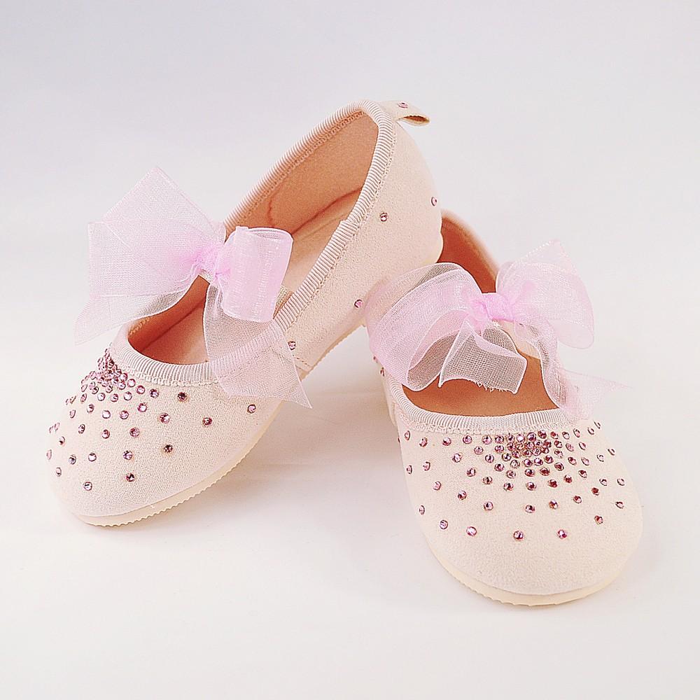 Różowe buciki z kryształkami Swarovskiego