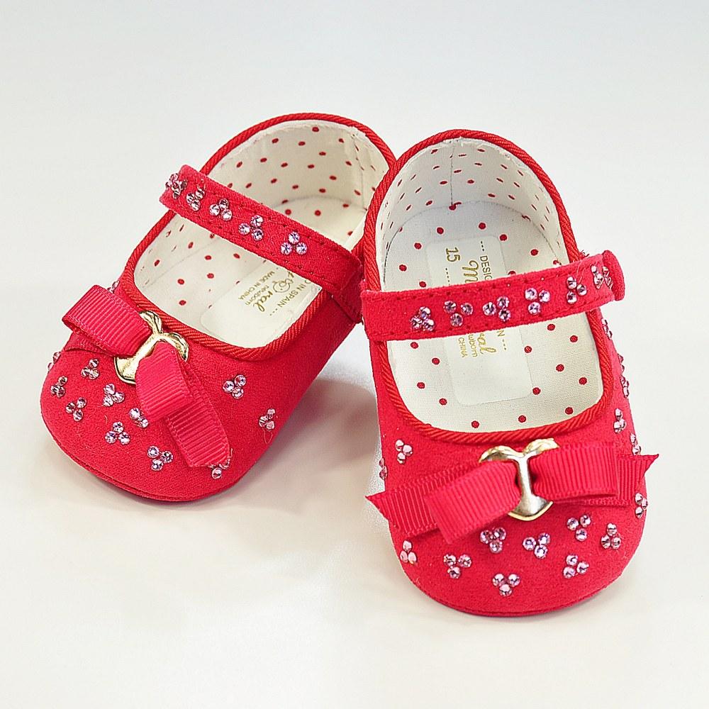 Czerwone balerinki z kryształkami Swarovskiego