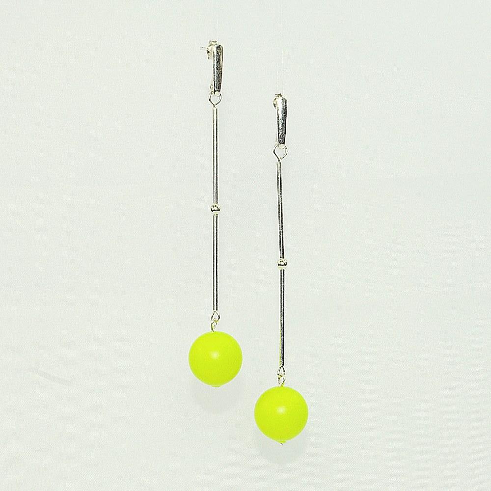 Kolczyki z perłą neosnowo żółtą