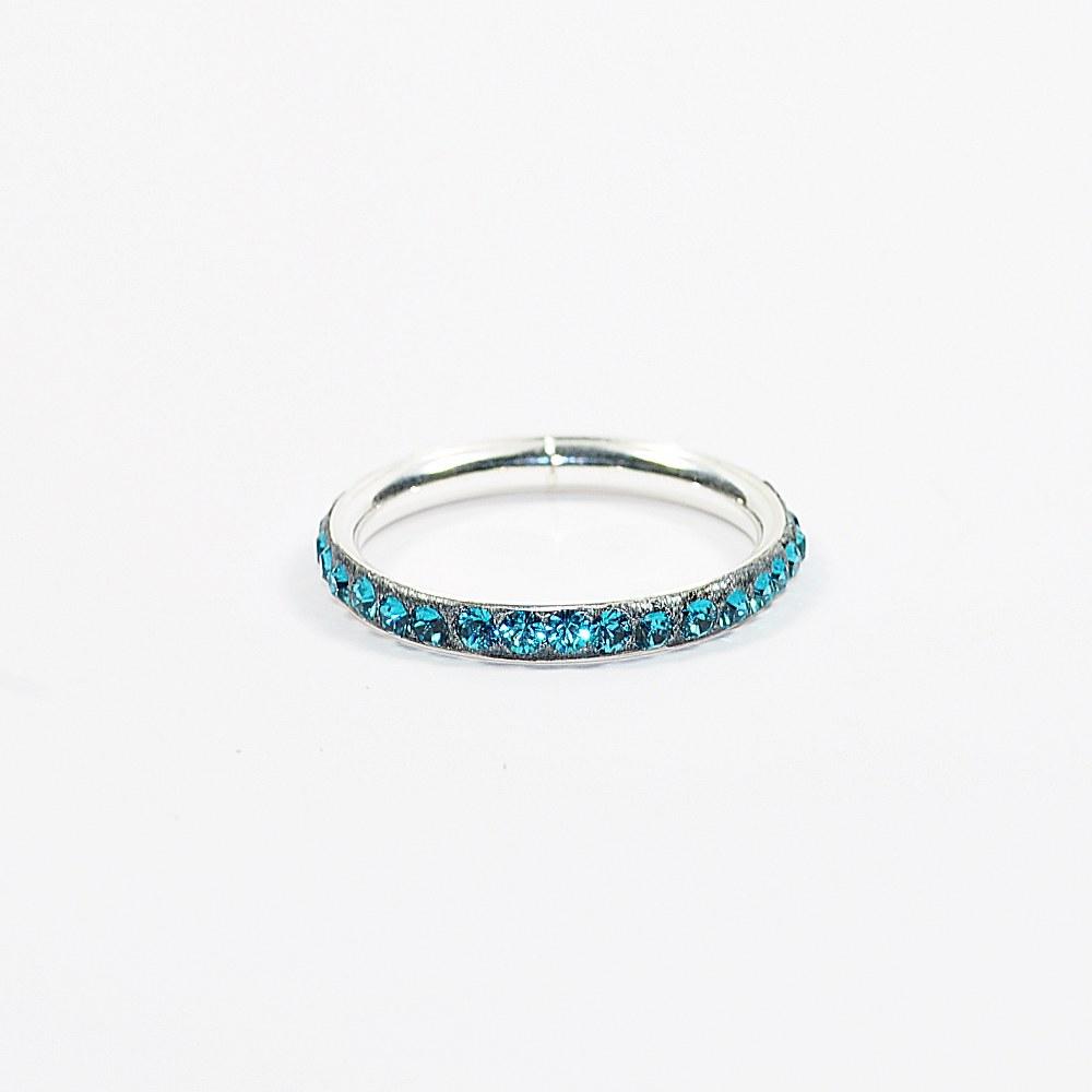 Obrączka srebrna I z kryształami Swarovskiego