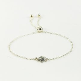 Bransolertka srebrna z okrągłym elementem Crystal