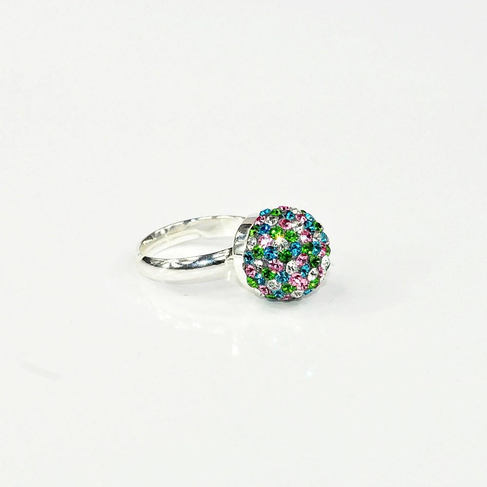 Pierścionek kulka z kryształami Swarovskiego FRIC