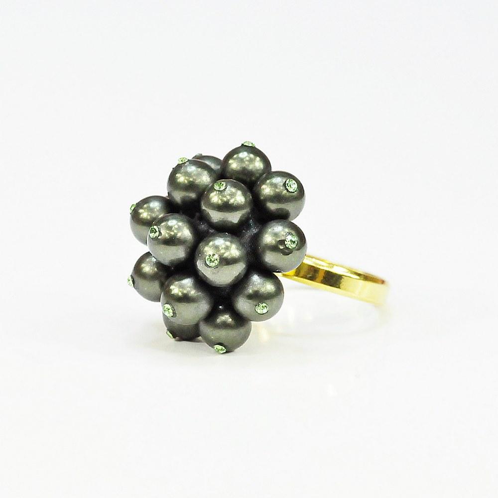 Pierścionek pozłacany z perłami DG