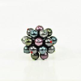 Pierścionek pozłacany z perłami mix