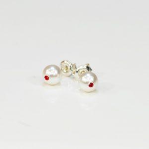 Kolczyki z białą perłą S