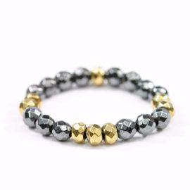 Pierścionek elastyczny Black & Gold uroczy