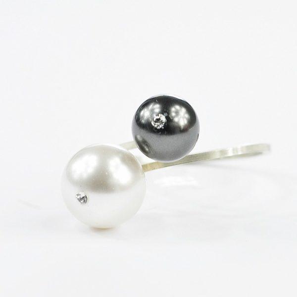 Pierścionek 2 perły BW