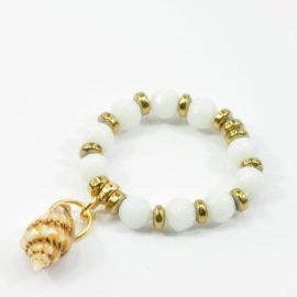 Pierścionek elastyczny biały Jadeit i Muszla
