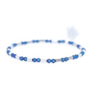 Bransoletka Helio No2 - z niebiesko- srebrnych hematytów z chwostem - urocza