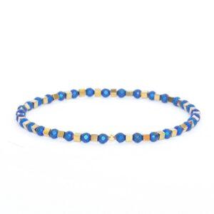 Bransoletka Helio No3 - urocza, z niebiesko- zlotych hematytów