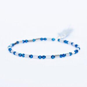 Bransoletka Helio No4 - z niebiesko- srebrnych hematytów, z chwostem, urocza