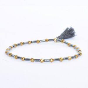 Bransoletka z hematytów No2 - z chwostem, czarno-złota